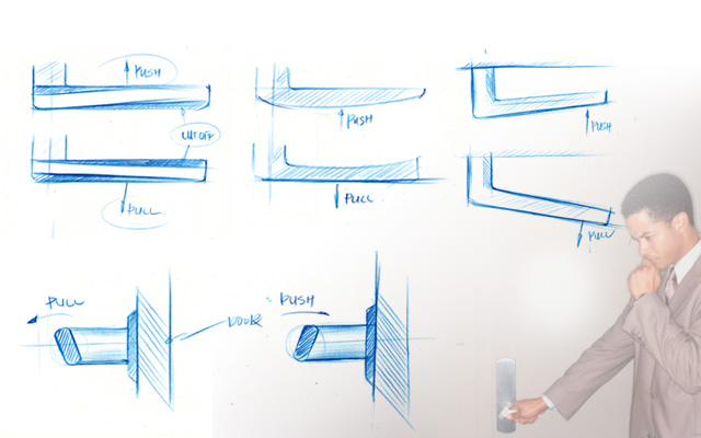 push handle. analysis to understand how the form can convey pull/push movement. since most of restrooms are not spacious, i decided design a pull handle. push handle